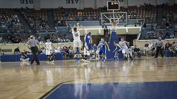 Weleetka's Montana Gormly (10) takes a three-point attempt durning their loss to Glencoe in the Class A finals championship on Saturday.