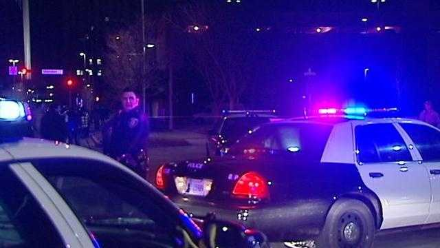 Two people were stabbed during a fight near the Cox Convention Center shortly after the Thunder vs. Lakers game was ending at the nearby Chesapeake Energy Arena on Tuesday night, police said.
