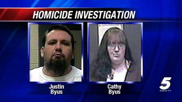 Authorities have identified a woman found slain in Pottawatomie County early Thursday as Cathy Byus. Her husband, Justin Byus, has been taken into custody.