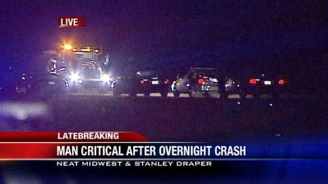 One person is in critical condition after a crash early this morning and police say the victim was drag racing. A man missed a turn and flipped the car on a road near Tinker Air Force Base. Officers say several cars were at the scene.