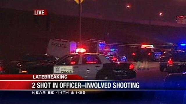 The shooting happened near SE 44th and I-35. No officers were hurt.
