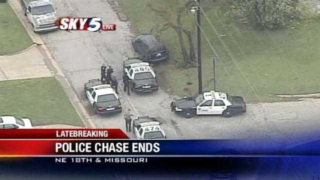 Police chase ends in northeast Oklahoma City