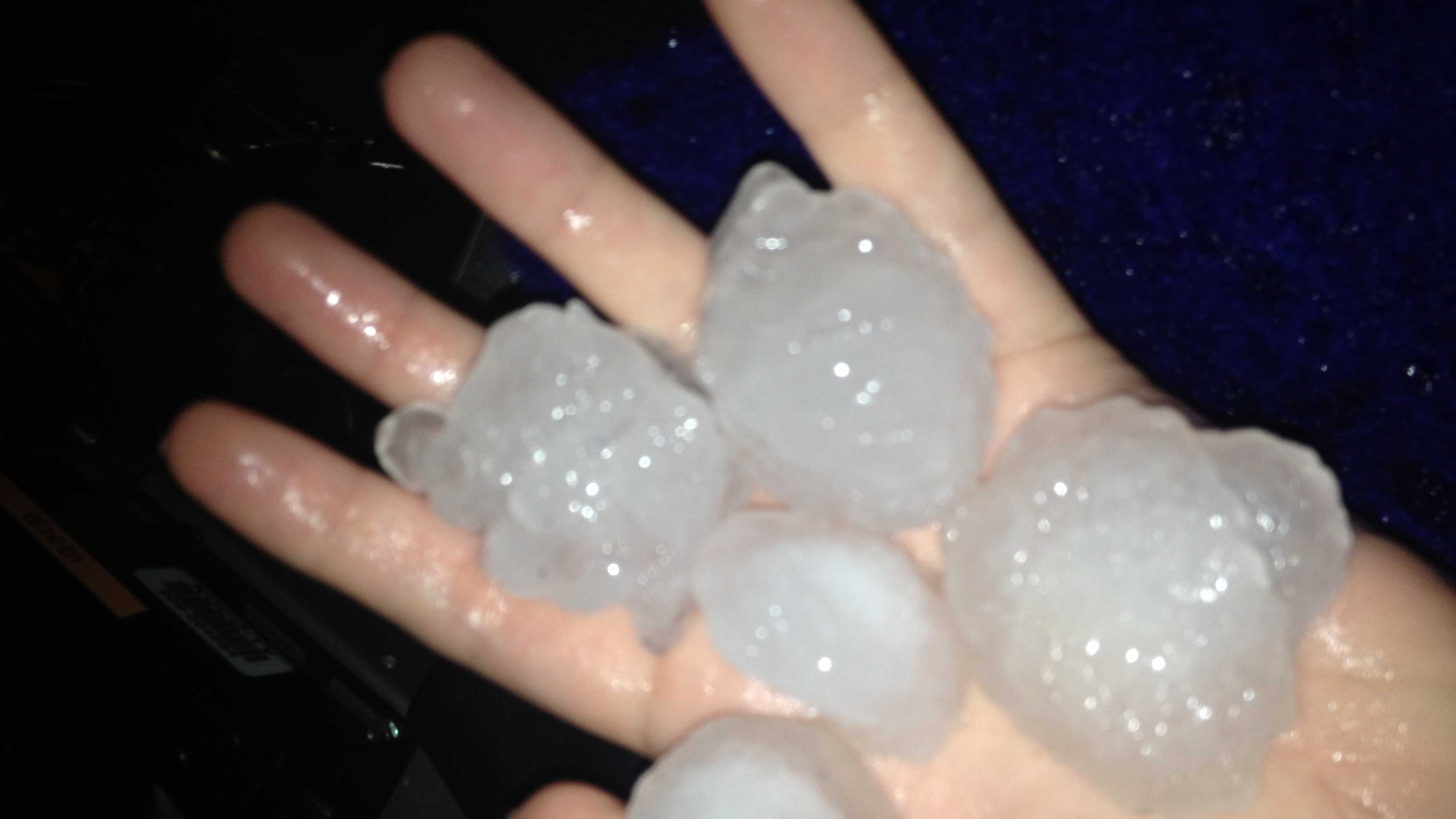 Kim Passoth snapped a photo of hail that fell t the KOCO TV station on Friday night.