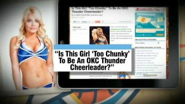 A Houston blogger asked if a Thunder cheerleader was 'too chunky' to cheer.