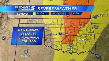 And this is the latest severe weather risk map as of 12:30 a.m. Sunday. Be weather aware, and download KOCO's tornado app. We will give you the First Alert!