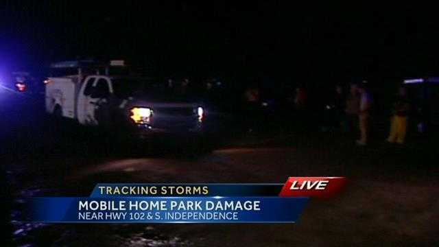 A mobile home park near Highway 102 and Independence was damaged heavily by a tornado, which also killed one person there.