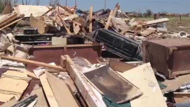 Raw Video: Tornado's first damage in Newcastle