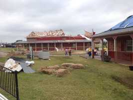 Orr's family farm, which has stood for 36 years, was badly damaged by the tornado. Fences were torn down and roofs were blown off buildings, Orr said.