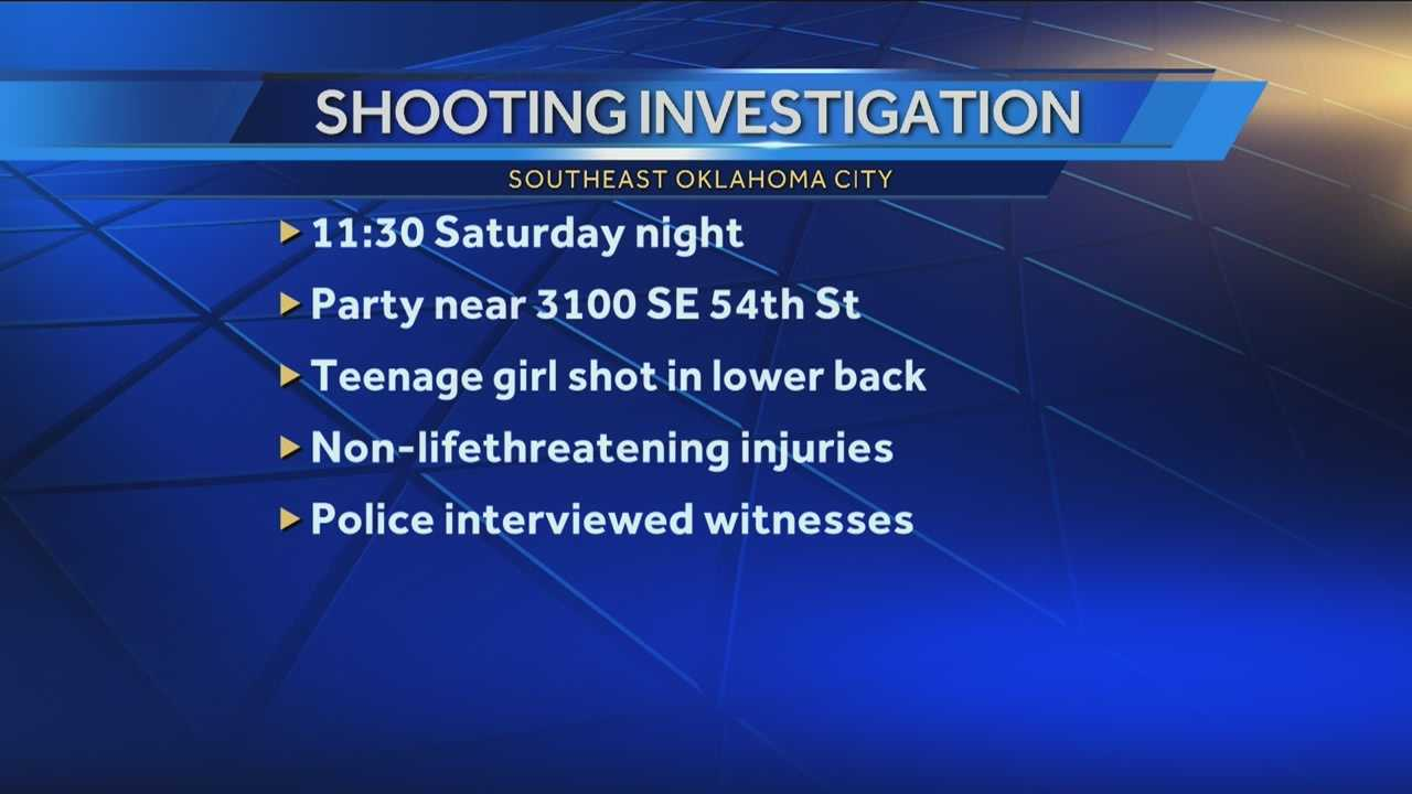 A teenage girl is recovering from a gunshot wound to the lower back. Shots rang out Saturday night when several people got into an argument at a party near SE 54th Street and Bodine Drive. The girl's injuries are not life threatening.