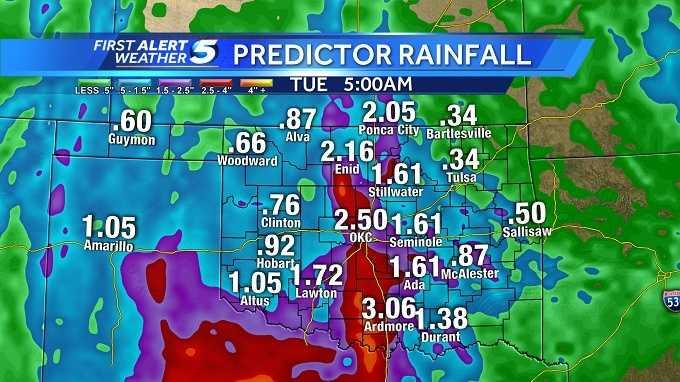 Predictor rain amounts through Tuesday