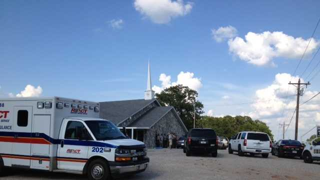 Officials have created a staging area at the nearby Hilltop Baptist Church.