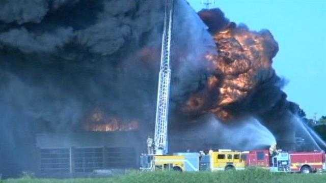 Fire from Norman tire shop seen for miles