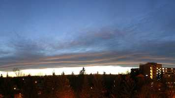 Chinook arch: A foehn cloud formation appearing as a bank of altostratus clouds east of the Rocky Mountains, heralding the approach of a chinook.
