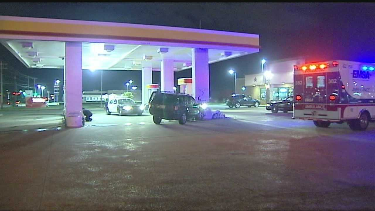SUV damages gas station after late night crash