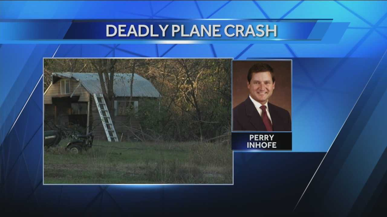 Sen. Jim Inhofe's son, Dr. Perry Inhofe, died Sunday in a plane crash near Owasso, Okla.
