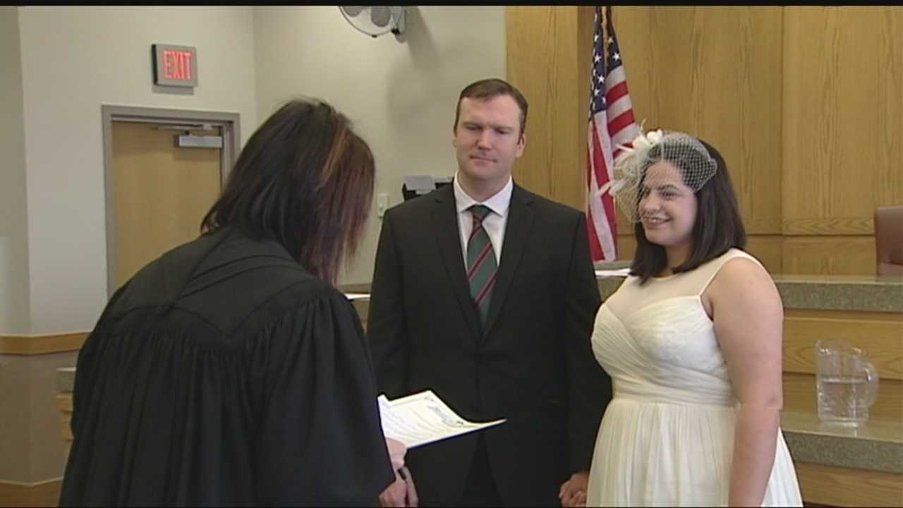 It was a record-setting day for weddings at the Cleveland County Courthouse on Valentine's Day.