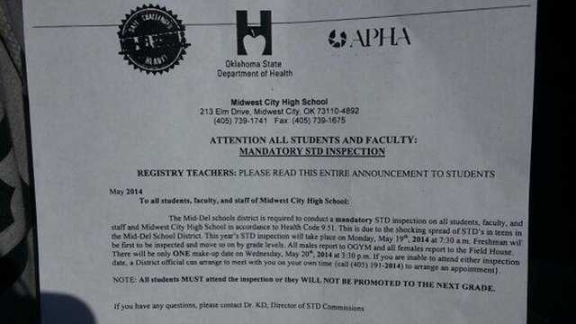 Midwest City High School STD letter