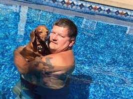 Louise and her owner relaxing in their backyard pool. She's the only one of 4 family dogs who will get in the pool.