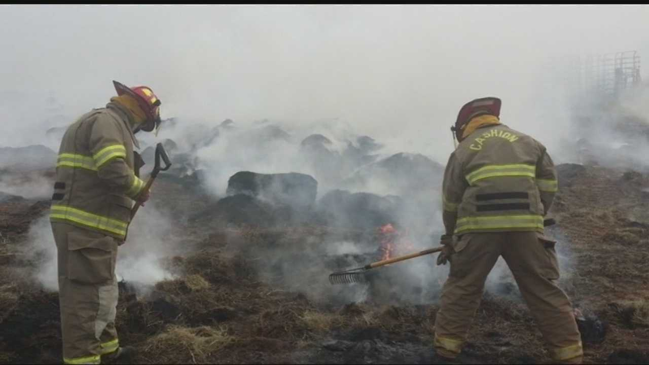 Local firefighters battling flames run out of water and Gatorade