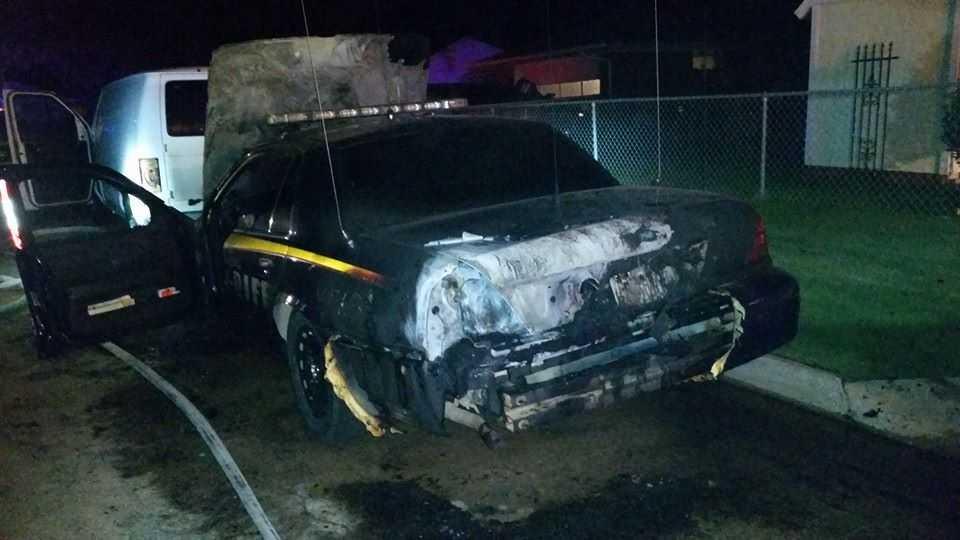 Deputy car fire