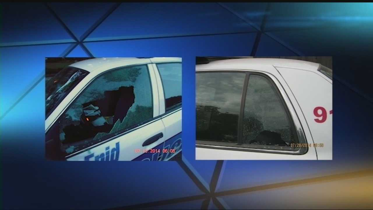 Police say three law enforcement vehicles have been vandalized recently.