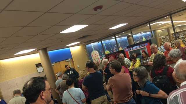 It was standing-room only at the Norman Public Library when members of the public attended to show both their support and disapproval at the community-sponsored educational forum dealing with fracking.