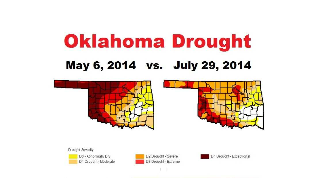 How the drought has changed across Oklahoma in 3 months, courtesy of the U.S. Drought Monitor.
