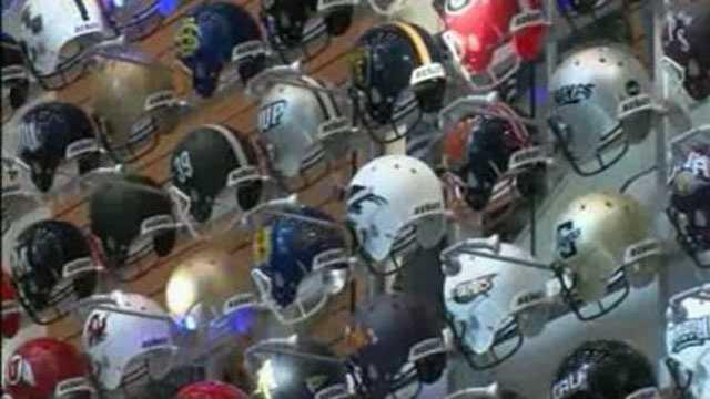 College football helmets