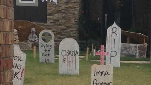 Woman says fake Obama tombstone is disrespectful
