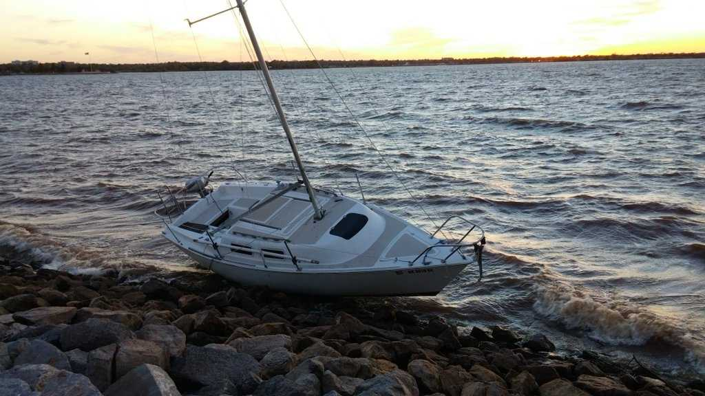 Wind ruins couple 39 s sailboat ride at lake hefner for Lake hefner fishing