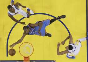 Relive the Oklahoma City Thunder and Golden State Warriors' regular season matchups this season in photos ahead of their Western Conference Finals battle.