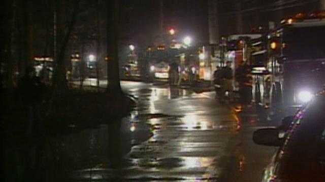 arson, fire trucks at night (generic) - 16577789