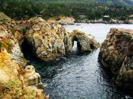Point Lobos is south of Monterey and north of Big Sur.