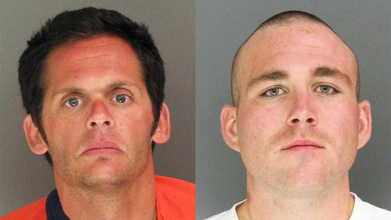 Bryan Matthew Martin, 29, of Ben Lomond, and Blaine Richard Collamore, 22, of Scotts Valley, are seen in mug shots.