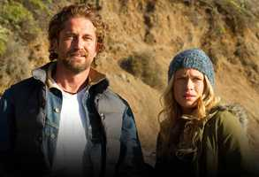 "Actor Gerard Butler, left, was cast as Jay's mentor and coach, Rick ""Frosty"" Hesson, and Leven Rambin, right, was cast as Jay's wife, Kim Moriarity."