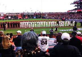 The San Francisco Giants out-pitched and out-slugged Detroit as they trampled the Tigers in Game 1 of the 2012 MLB World Series, 8-3.