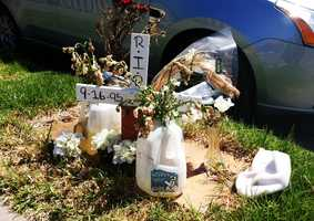 This was a memorial built for 16-year-old Ricardo Rojas.On April 10, 2012, Rojas was shot in the head while walking with a friend on the 100 block of North Hebbron Avenue.