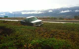A truck spun off Highway 101 in Chualar.