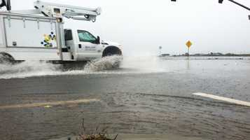 Davis Road in Salinas was flooded on Friday. (Nov. 30, 2012)
