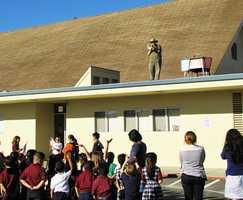 #4: Principal on the roofOn November 6, Mr. Jim Wallace, Principal at Salinas Christian School, did his job from the roof of the school building. Wallace had promised students that he would spend a school day on the roof if they exceeded their goal for the Fall Scholastic Book Fair. The goal for this year was to reach $3,000 in sales.