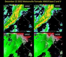 Images above compiled by the National Weather Service San Francisco Bay Area. These images show the KMUX radar data at the time of the tornado, between 6:55 a.m. and 6:59 a.m. on December 22, 2012. Top images show reflectivity observed (intensity and location of rainfall) and bottom images indicate velocity of winds observed from KMUX with the Yellow T marking the position of the tornado at 6:59 a.m.