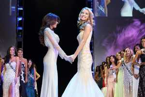 The two remaining competitors wait for the Miss California USA 2013 winner and runner-up to be announced.