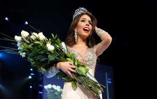 Miss Greater San Diego Mabelynn Capeluj reacts after she is crowned Miss California USA 2013.