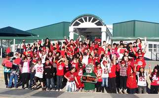 "Fifth grade students at Ladd Lane Elementary School in Hollister sent this photo to KSBW through ulocal!""They believe they are the biggest 49er fans in Hollister,"" one proud parent said."