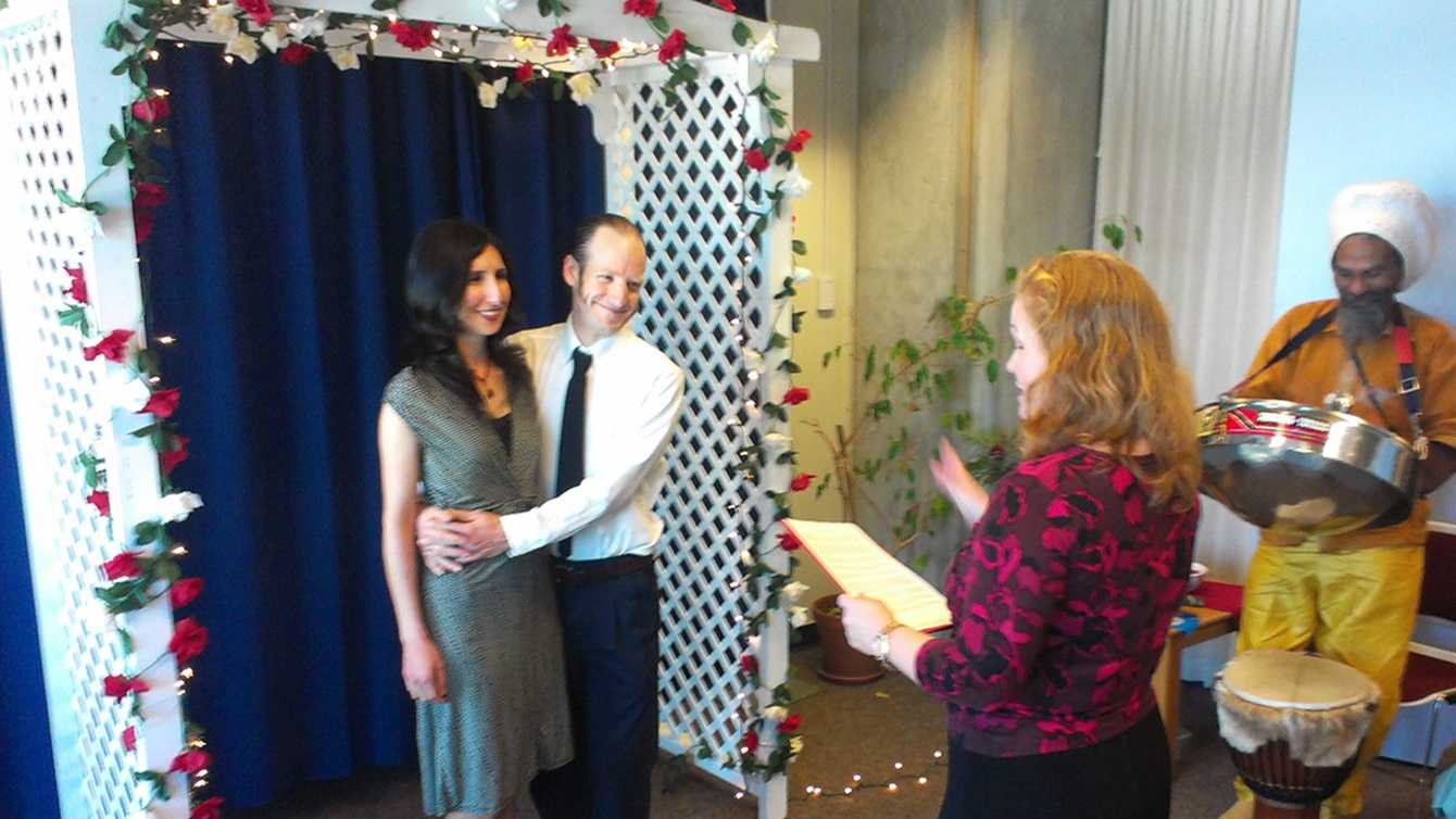 """Barnaby Lee and Melody Reeves were one of the first couples to say """"I Do"""" Thursday."""