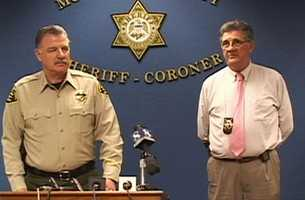Monterey County Sheriff Scott Miller, left, said Espinoza was taken into custody and told investigators where they could find the missing baby.