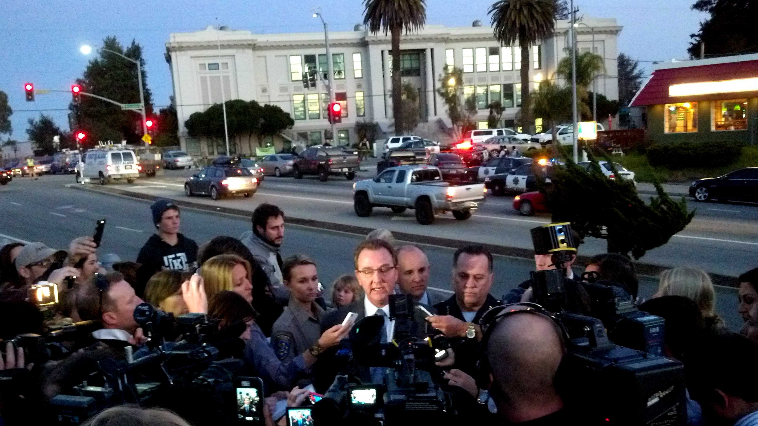 Santa Cruz Police Chief Kevin Vogel, right, and and Sheriff Phil Wowak, left, hold a press conference after two officers were killed.