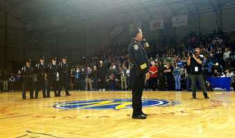 The Santa Cruz Warriors honor two slain Santa Cruz police officers.