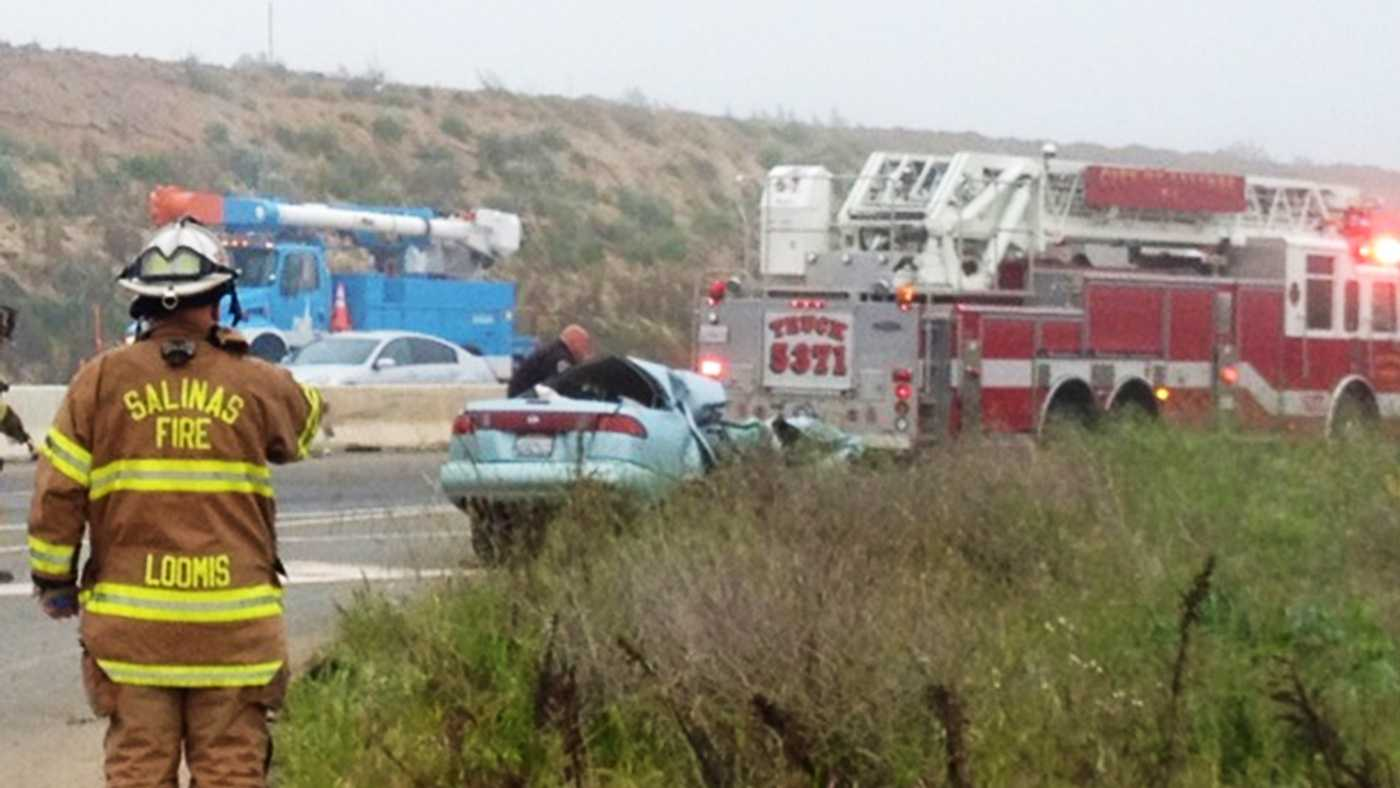 One person died in this crash on Highway 101 in Salinas. (April 3, 2013)
