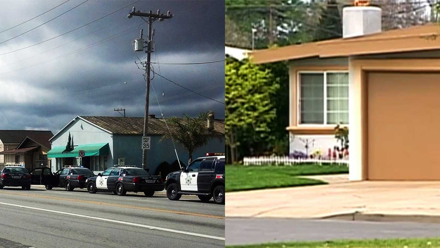 Last Monday's standoff in Salinas happened at the house on the left and Friday's happened at the house on the right.
